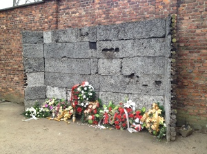 "The ""death wall"" at Auschwitz."